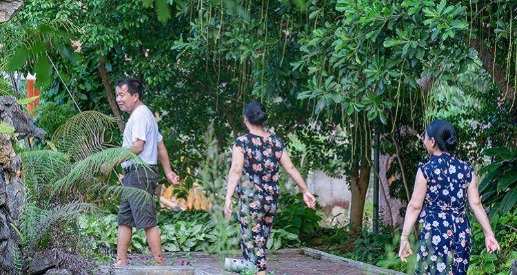 Tập thể dục trong khuôn viên Thạch Lâm Viên Nam dược Đại Phú An