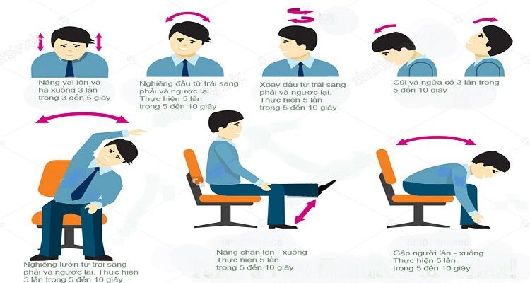 Các bài tập đơn giản phòng đau vai gáy của dân văn phòng. (Nguồn ảnh: Internet)