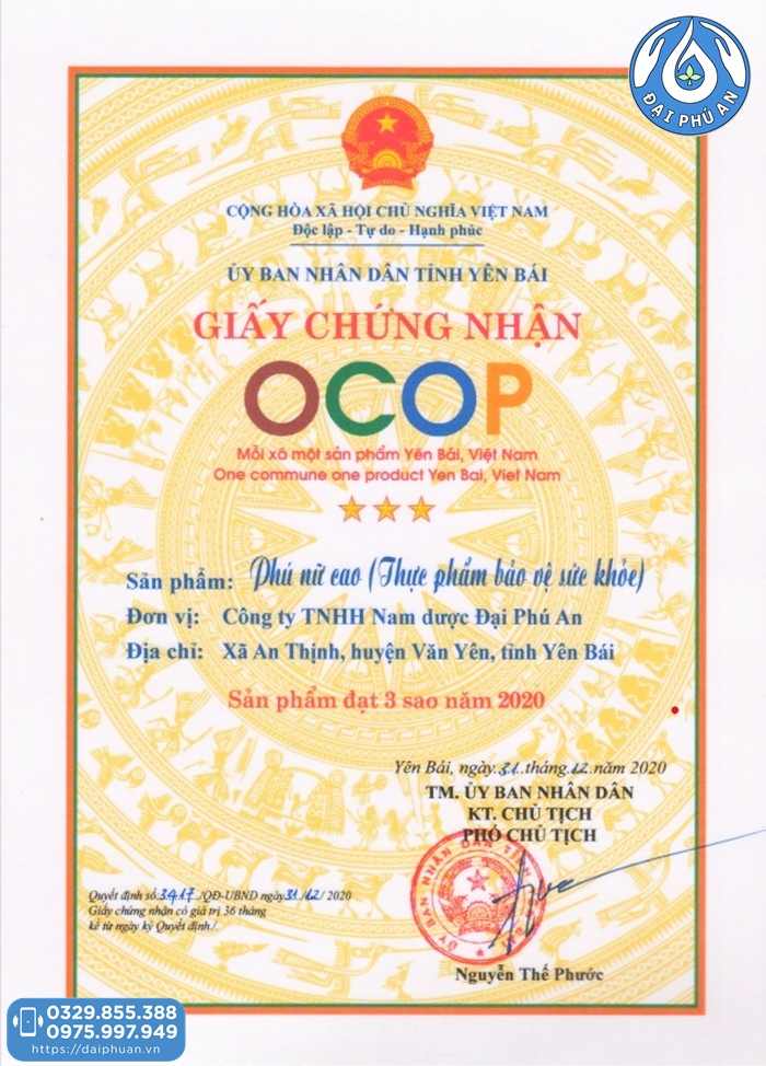 Chứng chỉ OCOP 3 sao